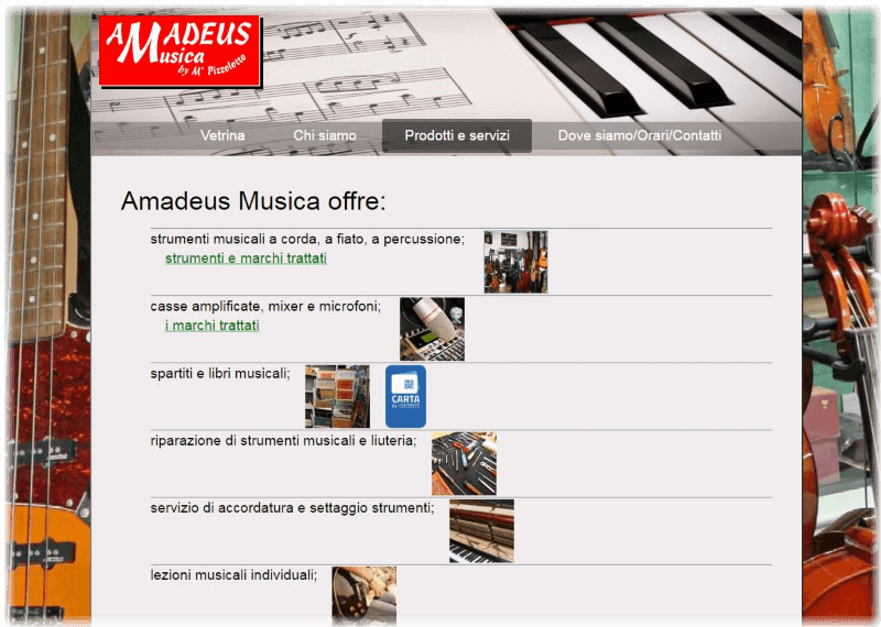 Sito Amadeus musica screenshot